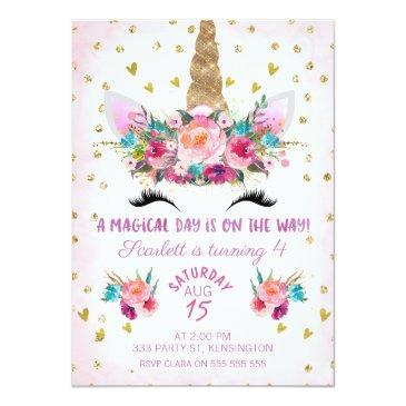 Small Unicorn Face Floral Birthday Invitation Front View