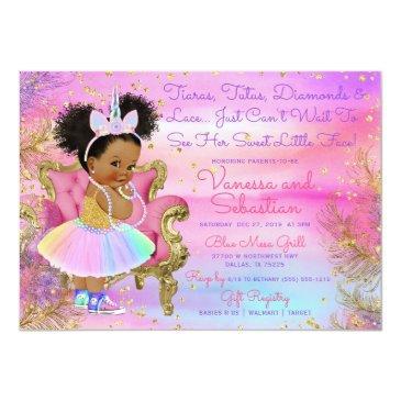 Small Unicorn Princess African American Glitter Gems Invitation Front View