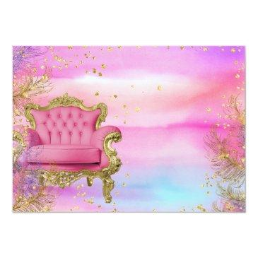 Small Unicorn Princess African American Glitter Gems Invitation Back View