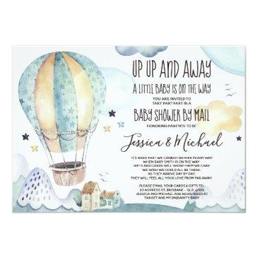 Small Up And Away Hot Air Ballon | Baby Shower By Mail Invitation Front View