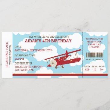 vintage airplane boarding pass ticket birthday invitation