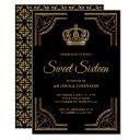 vintage black gold ornate crown sweet sixteen invitation