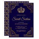 vintage blue gold ornate crown sweet sixteen invitation