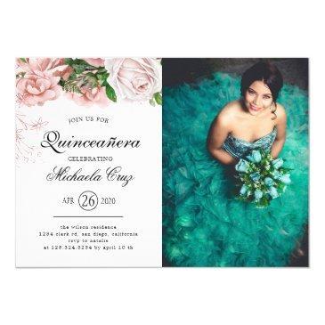 vintage blush roses on white quinceanera invitation