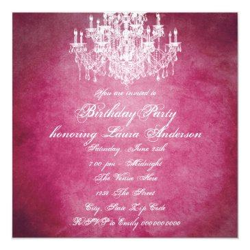 Small Vintage Chandelier Womans 40th Birthday Party Invitations Back View