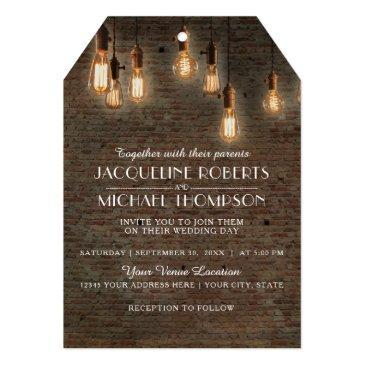 vintage industrial warehouse brick edison lights invitation