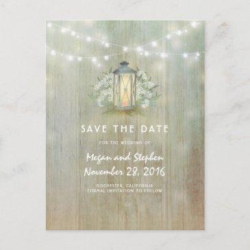 vintage lantern and white flowers save the date announcement postinvitations