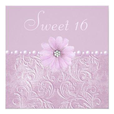 vintage lilac bling flowers & pearls sweet 16 invitation