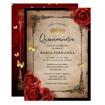 vintage red rose black gold elegant quinceanera invitation