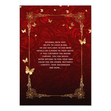 Small Vintage Red Rose Black Gold Elegant Quinceanera Invitation Back View