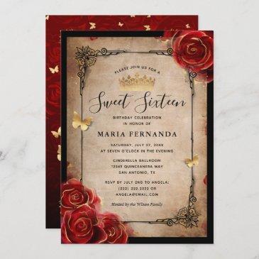 vintage red rose gold black elegant sweet 16 invitation