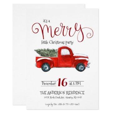vintage red truck christmas invitation