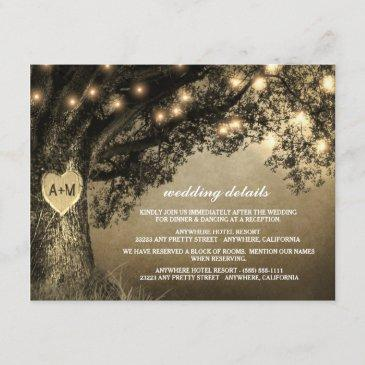vintage rustic carved oak tree wedding enclosure invitations
