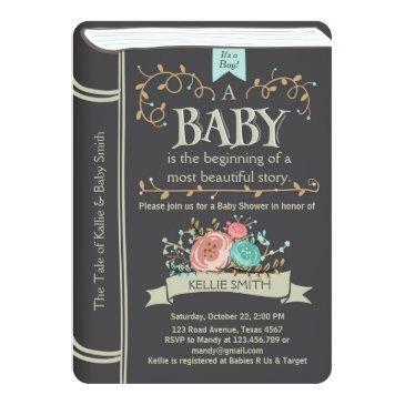 vintage storybook baby shower invitation boy
