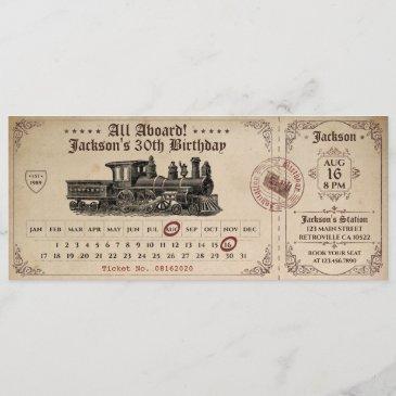 vintage train ticket birthday invitation