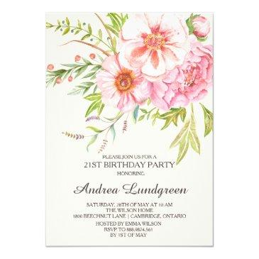 vintage watercolor peonies birthday invitation