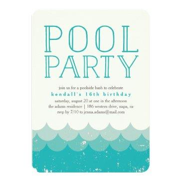 Small Vintage Waves Pool Party Invitation Front View