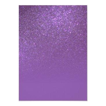 Small Violet Purple Sparkly Glitter Ombre Photo Sweet 16 Invitation Back View