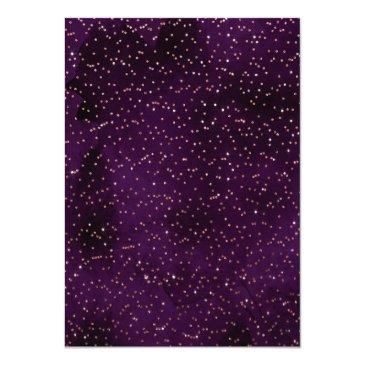 Small Violet Rose Gold Sprinkled Confetti Sweet 16 Invitation Back View