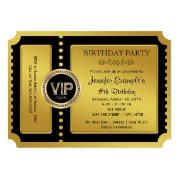 Small Vip Golden Ticket Birthday Party Invitations Front View
