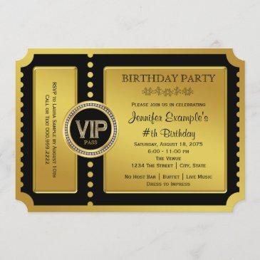 vip golden ticket birthday party invitation