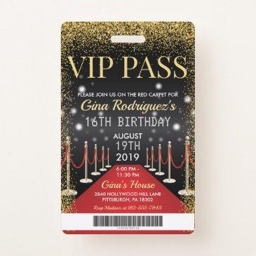 vip pass hollywood red carpet birthday invitation badge