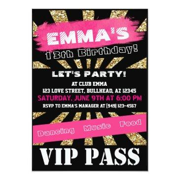 Small Vip Pink & Gold Any Event Pass Custom Wording Badge Front View