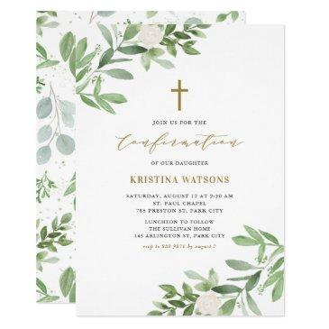 watercolor greenery and flowers confirmation