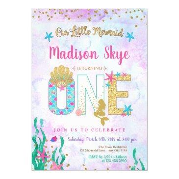 watercolor mermaid first birthday invitation