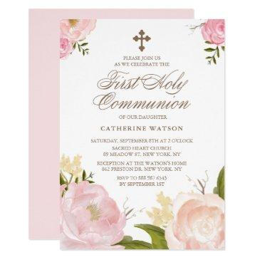 watercolor pink peonies first holy communion
