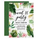 watercolor tropical floral frame sweet 16 party