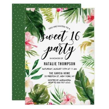 watercolor tropical floral frame sweet 16 party invitations