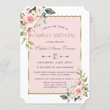 watercolour pink blush flowers gold sweet 16 invitation