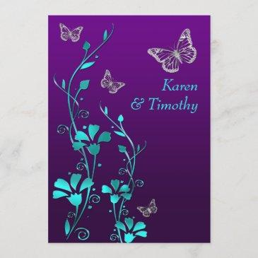 wedding | purple teal silver, floral | butterflies invitation