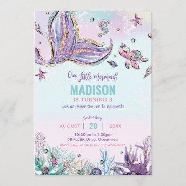 whimsical mermaid under the sea birthday party invitation