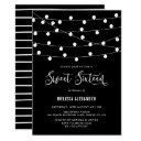 whimsical string lights black sweet 16 invitation