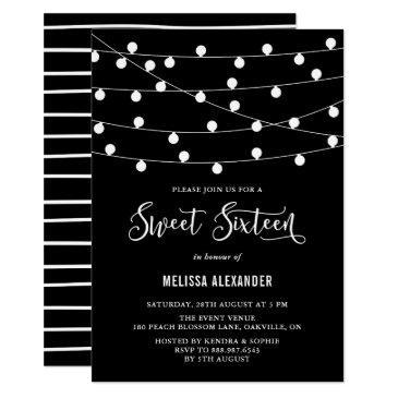 whimsical string lights black sweet 16 invitation