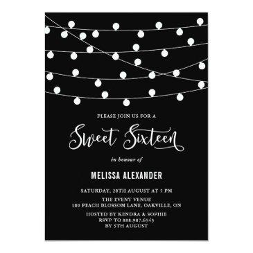 Small Whimsical String Lights Black Sweet 16 Invitation Front View