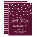 whimsical string lights purple sweet sixteen party invitation