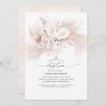 white anthurium and pampas grass floral baptism invitation