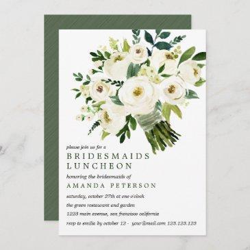 white bloom   bouquet bridesmaids luncheon wedding invitation