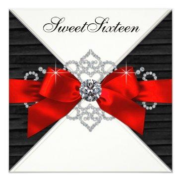 Small White Diamonds Black Red Sweet 16 Birthday Party Invitations Front View