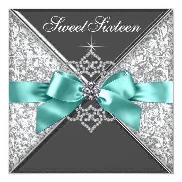 Small White Diamonds Teal Blue Sweet 16 Birthday Party Invitations Front View