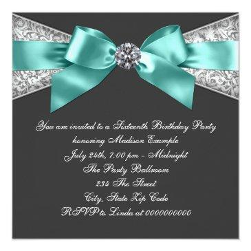 Small White Diamonds Teal Blue Sweet 16 Birthday Party Invitations Back View