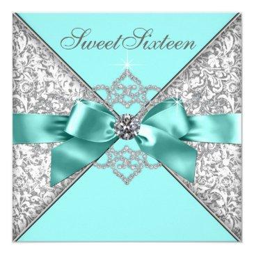 white diamonds teal blue sweet 16 birthday party invitations
