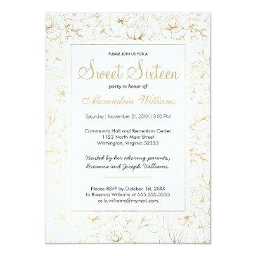 Small White Elegant Faux Gold Glitter Floral Sweet 16 Invitations Front View