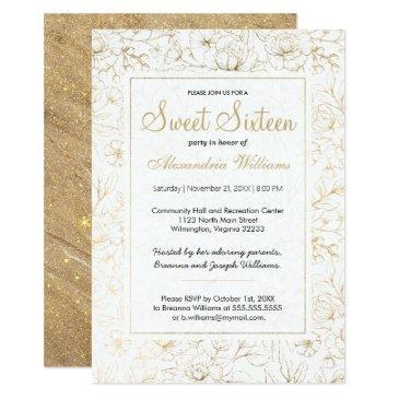 white elegant faux gold glitter floral sweet 16