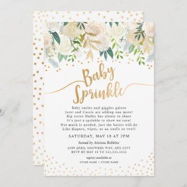 white floral baby sprinkle invitation