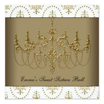 Small White Gold Chandelier Classy Sweet Sixteen Ball Invitations Front View