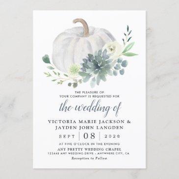 white pumpkin elegant succulent fall chic wedding invitation